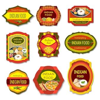 Indyjskie jedzenie kolorowe emblematy