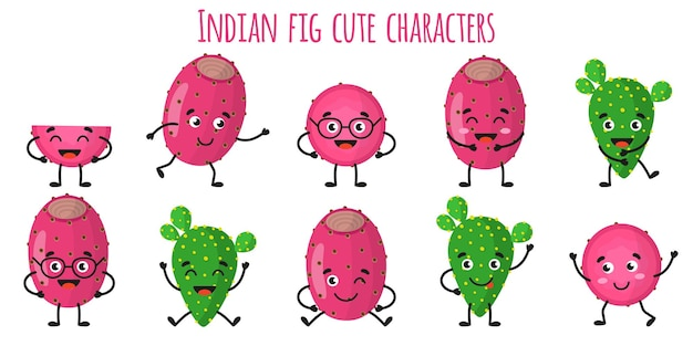 Indyjskie owoce figowe słodkie zabawne wesołe postacie z różnymi pozami i emocjami