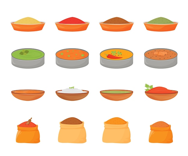 Indyjskie potrawy i przyprawy zestaw obiektów w płaskim kolorze. tradycyjne potrawy w metalowym thali, aromaty w drewnianych misach i workach tekstylnych ilustracje 2d na białym tle kreskówek na białym tle