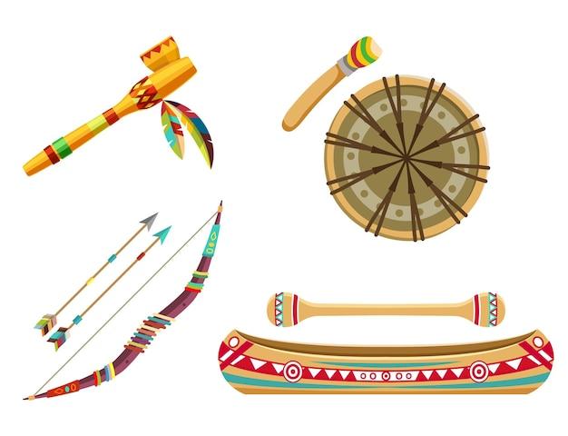 Indyjskie symbole plemienne lub zestaw tematyczny. artykuły gospodarstwa domowego lub przedmioty. łuk ze strzałami, kajak, etniczny bęben i fajka. płaska konstrukcja