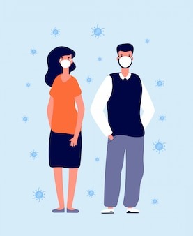Indywidualna ochrona przed wirusami. maski medyczne, osoby noszące chronią. zapobieganie grypie, chorobom lub zanieczyszczeniom. człowiek w masce ilustracji