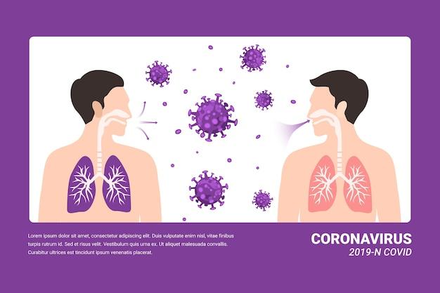 Infekcja płuc koronawirusa koncepcja