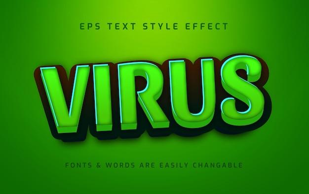 Infekcja wirusowa 3d edytowalny efekt stylu tekstu