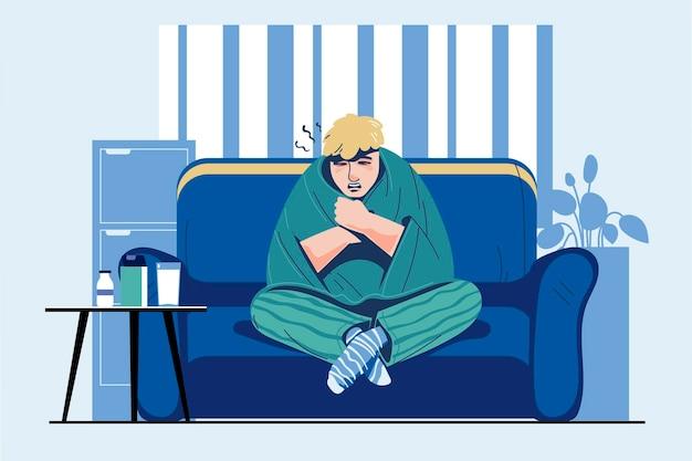Infekcje i sezon grypowy z ilustracją chorych osób