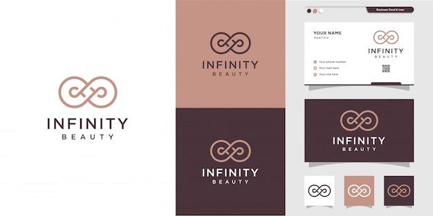 Infinity beauty logo i projekt wizytówki, piękno, nieskończoność, koncepcja, życie, premium