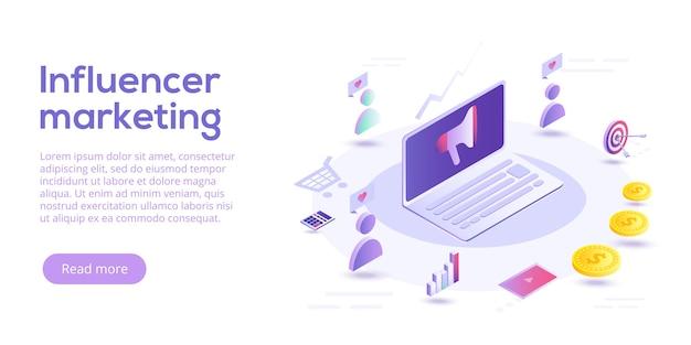 Influencer marketing izometryczny. blog reklamujący towary za pośrednictwem internetowych mediów społecznościowych. wpływ reklamy na stronie lub blogu na potencjalnych kupujących.