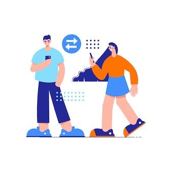 Influencer marketingowa kompozycja z postaciami dziewczynki i chłopca rozmawiającymi przez smartfony
