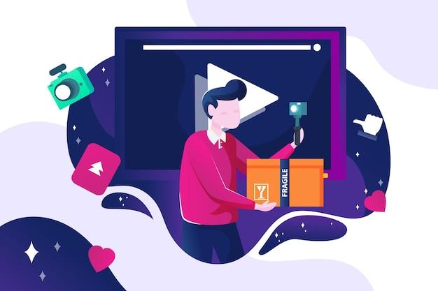 Influencer nagrywa nowe wideo