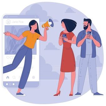 Influencer social media w pracy. potencjalni nabywcy produktu lub konsumenci, koncepcja płaskiego projektu komunikacji zaangażowania online.