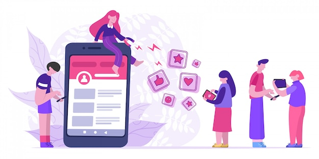 Influencerzy przyciągają lajki. blogger za pomocą dużego magnesu przyciąga polubienia, oceny i obserwujących. ilustracja koncepcja marketingu mediów społecznościowych. wpływowy marketingowiec, udostępnianie i promocja społecznościowa