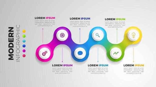 Infograf 6 element z krokiem koła. graficzny diagram wykresu, projekt graficzny osi czasu biznesu w jasnym kolorze tęczy z ikonami