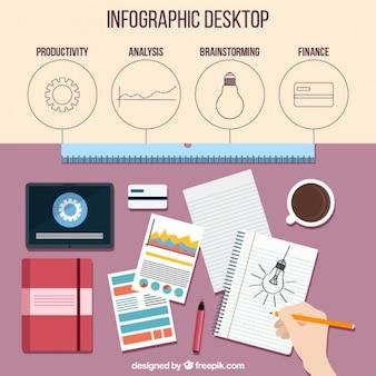 Infografia miejsca pracy w płaskiej konstrukcji