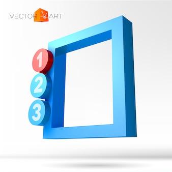 Infograficzna ramka 3d z ponumerowanymi opcjami