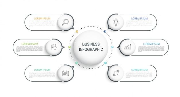 Infograficzna wizualizacja szablonu danych biznesowych na osi czasu z 6 krokami. schemat przepływu pracy lub baner do projektowania stron internetowych.