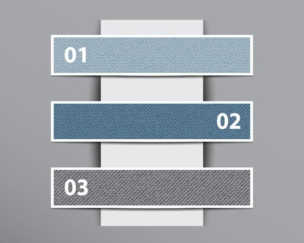 Infograficzne banery denimowe na pionowej warstwie papieru.