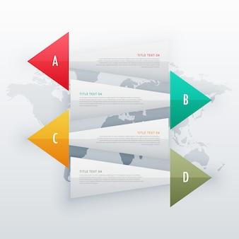 Infograficzne banery reklamowe cztery kroki szablon projektu przepływu pracy