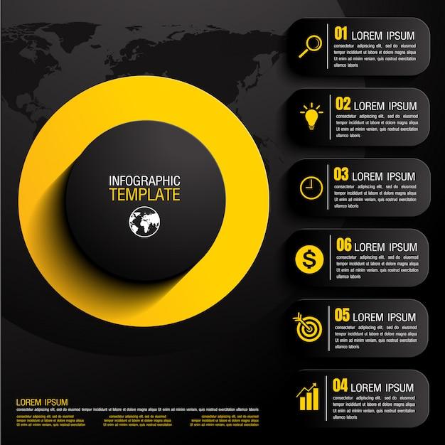 Infograficzne dane biznesowe z sześcioma krokami
