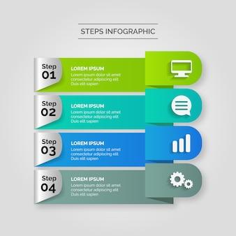 Infograficzne kroki biznesowe
