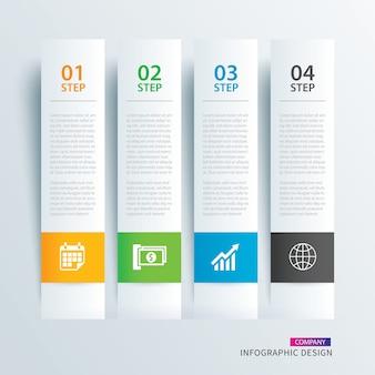 Infograficzny indeks papieru z zakładkami z 4 szablonami danych.