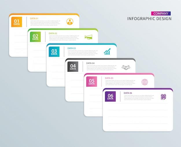Infograficzny indeks papieru z zakładkami z 6 szablonami danych.