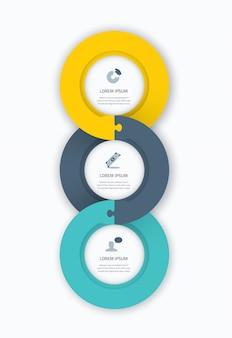 Infograficzny okrąg naklejki internetowej szablonu dla biznesu z ikonami i układanki kawałek układanki koncepcji. niesamowite płaskie wzornictwo, które można wykorzystać w internecie, w pring, broszurze, reklamie itp.