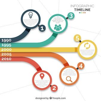Infograficzny płaski z kolorowymi kółeczkami