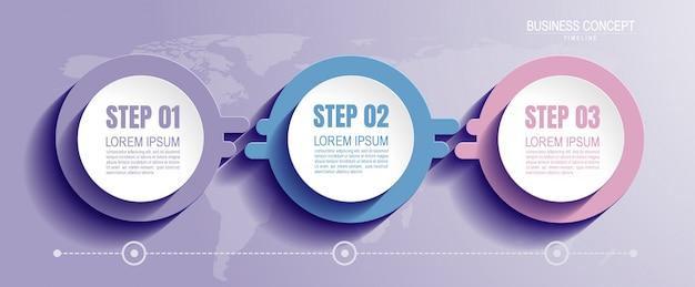 Infograficzny szablon z 3 krokami