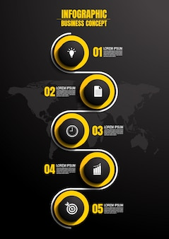 Infograficzny szablon z 5 krokami