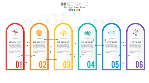 Infografika 6-etapowy kolorowy element z graficznym diagramem okręgu, projekt wykresu biznesowego