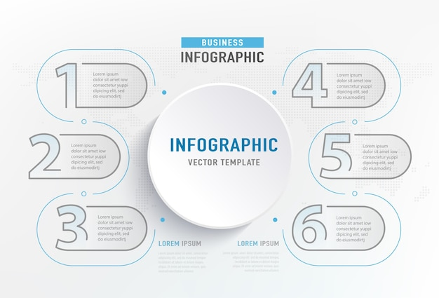 Infografika 6 krok elementu. graficzny diagram koła, projekt wykresu biznesowego.