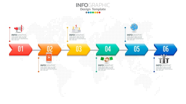 Infografika 6 kroków kolor elementu ze strzałką, diagram wykresu, koncepcja marketingu biznesowego