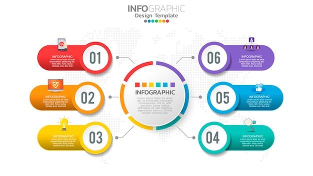 Infografika 6-stopniowy kolorowy element z graficznym diagramem okręgu, projekt wykresu biznesowego.