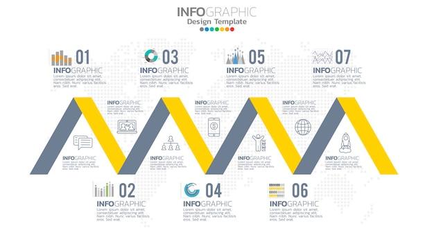 Infografika 7-stopniowy element w kolorze żółtym z okrągłym diagramem graficznym, projekt wykresu biznesowego.