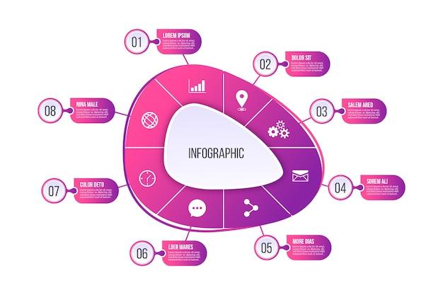 Infografika abstrakcyjny kształt gradientu