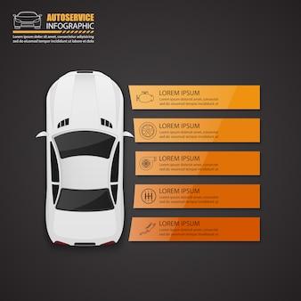 Infografika auto serwis samochodowy