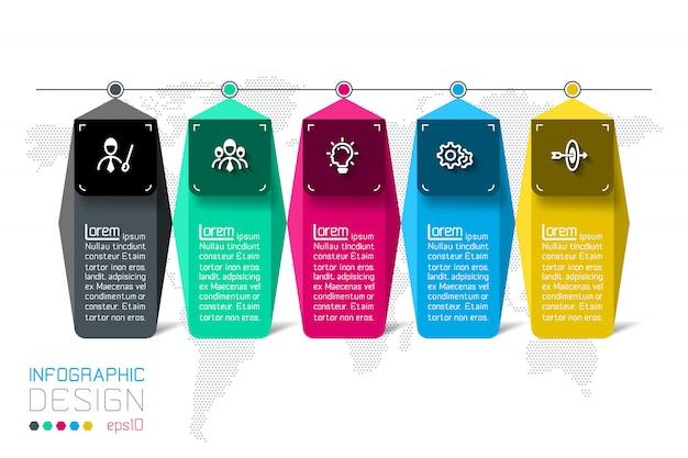 Infografika bar etykiety z 5 kroków.