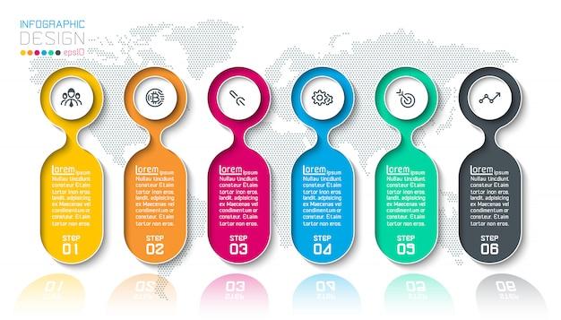 Infografika bar etykiety z 6 kroków.