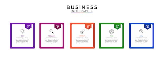 Infografika biznesowa 5 opcji lub kroków premium