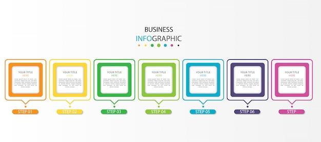 Infografika biznesowa z 7 krokami lub opcjami