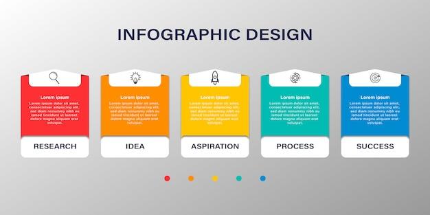 Infografika biznesowa z pięcioma opcjami lub krokami