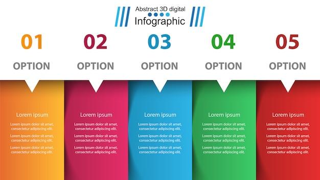 Infografika biznesu. pięć artykułów papierowych