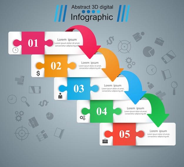 Infografika biznesu puzzle. pięć artykułów papierowych.