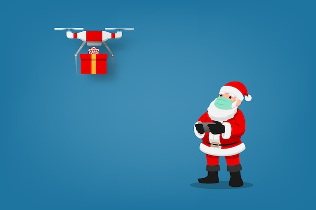 Infografika covid-19 przedstawiająca uroczą świąteczną postać, święty mikołaj nosi maskę chirurgiczną sterującą dronem, aby wysłać prezent dla dzieci i zachować dystans społeczny. koronawirus ochrona.