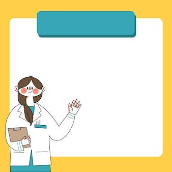 Infografika długie włosy lekarz wyjaśniając szablon strony doodle ilustracji
