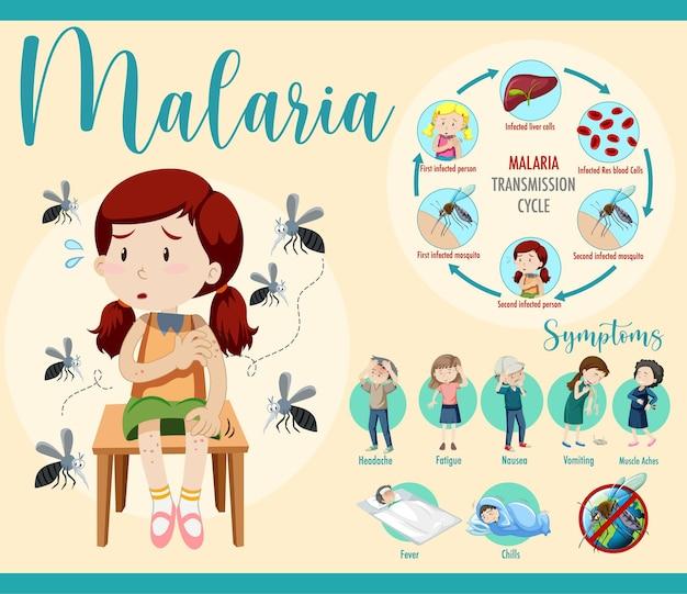 Infografika dotycząca cyklu przenoszenia malarii i informacji o objawach