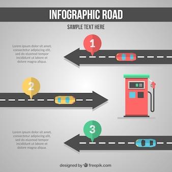 Infografika drogowego w płaskiej konstrukcji
