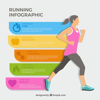 Infografika dziewczyny biegnie