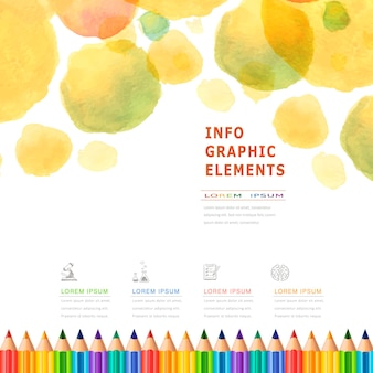Infografika edukacji w stylu akwareli z kolorowymi ołówkami?