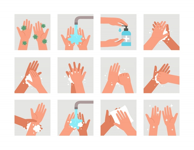 Infografika edukacyjna dla służby zdrowia pokazuje, jak umyć ręce. myć dłonie. higiena osobista. ochrona przed wirusami i bakteriami.