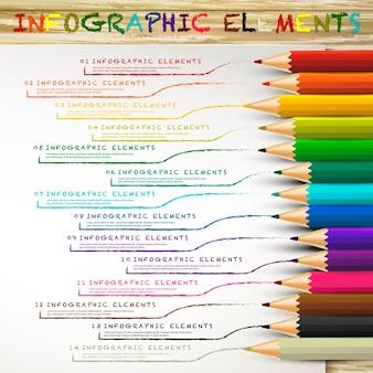 Infografika edukacyjna z kolorowymi ołówkami rysującymi linie na białym papierze